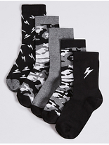 Marks and Spencer 5 Pairs of Cotton Rich FreshfeetTM Ankle Socks (1-14 Years)