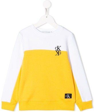 Calvin Klein Kids Two Tone Long Sleeve Sweater