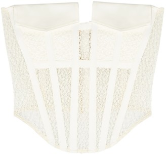 Dion Lee Ivory guipure lace corset top
