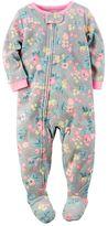 Carter's Girls 4-14 Print One-Piece Fleece Footed Pajamas