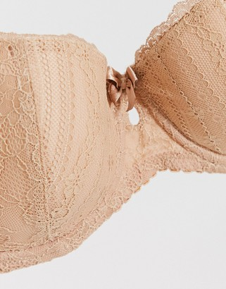 Pour Moi? Pour Moi Fuller Bust Remix lace balconette padded bra in beige
