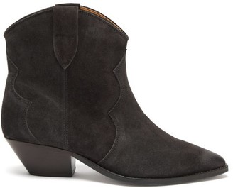Isabel Marant Dewina Western Suede Ankle Boots - Black