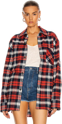 Acne Studios Salak Flannel Face Shirt in Red & Navy | FWRD