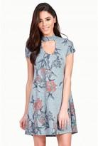 Select Fashion Fashion Womens Multi Floral Choker Cap Sleeve Swing Dress - size 6