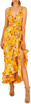 Bronx and Banco Narciss Floral High-Low Ruffle Maxi Dress
