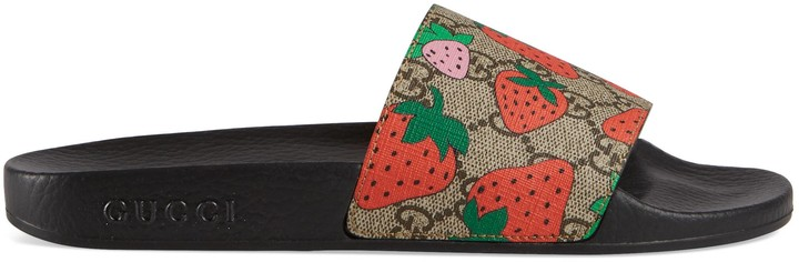 Gucci GG Strawberry slide sandal