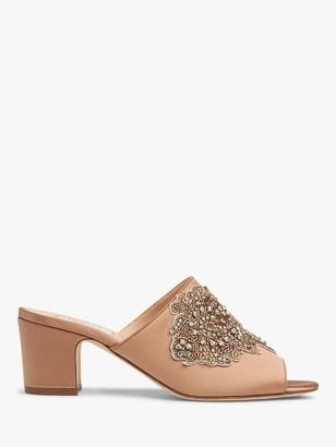 LK Bennett Sabrina Embellished Block Heel Mule Sandals