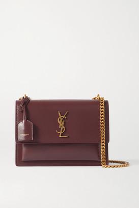 Saint Laurent Sunset Medium Leather Shoulder Bag - Burgundy