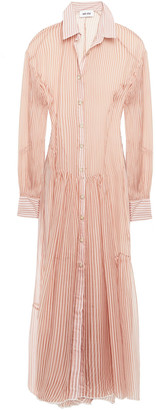 Each X Other Gathered Striped Silk-chiffon Maxi Shirt Dress