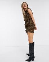 AllSaints hali ambient leopard print mini dress in brown