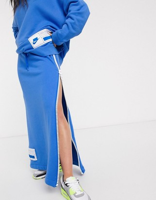 Nike Zip Side Blue Maxi Skirt