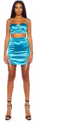 Public Desire Uk Teal Satin Mini Skirt with Diamante Trim