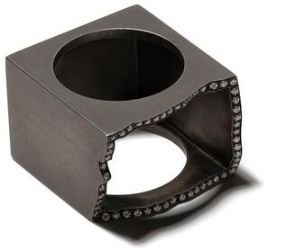 Sardo Blackened Silver Jagged Diamond Hollow Ring