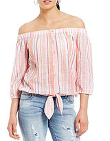 KUT from the Kloth Maeva Striped Off-The-Shoulder Tie-Front Top