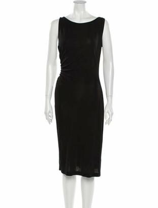 Diane von Furstenberg Scoop Neck Midi Length Dress Black