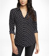 Express Horseshoe Print Convertible Sleeve Portofino Shirt