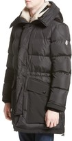 Moncler Men's Loic High Neck Down Coat With Genuine Shearling Trim