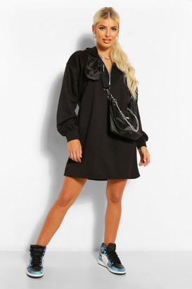 boohoo Zip Hooded Oversized Sweatshirt Dress