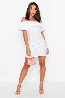 boohoo Extreme Ruffle Off Shoulder Mini Dress