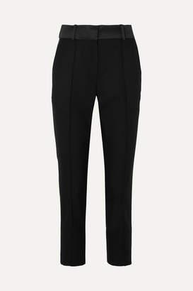 Racil Satin-trimmed Wool Slim-leg Pants - Black