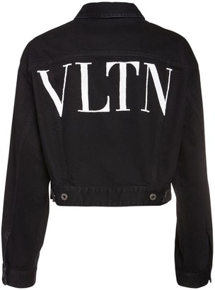Valentino Vltn Embroidery Cotton Denim Crop Jacket