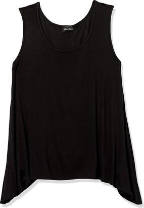 Star Vixen Women's Sleeveless Hi-Low Flattering Swing Hem Rayon/Span Knit Top