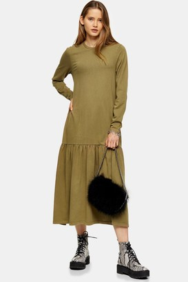 Topshop Womens Khaki Acid Wash Drop Waist Dress - Khaki