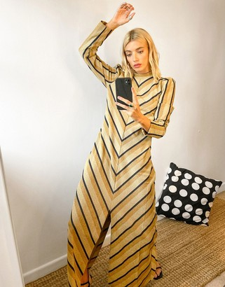 Selected maxi dress with front split in golden chevron print