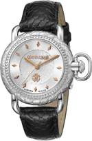 Roberto Cavalli Women's RV1L017L0016 MOVING CROWN DETAIL Rose Gold IP Leather Watch