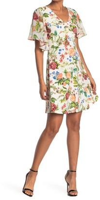 Tash + Sophie Floral Flutter Sleeve Dress