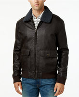 Tommy Hilfiger Men's Removable Faux Sherpa-Collar Faux-Leather Bomber Jacket