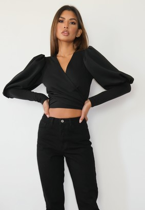 Missguided Black Scuba Tie Front Puff Sleeve Top