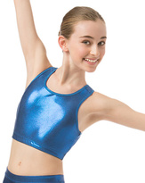 Danskin Royal Blue Foil Print Gymnastic Crop-Top - Girls