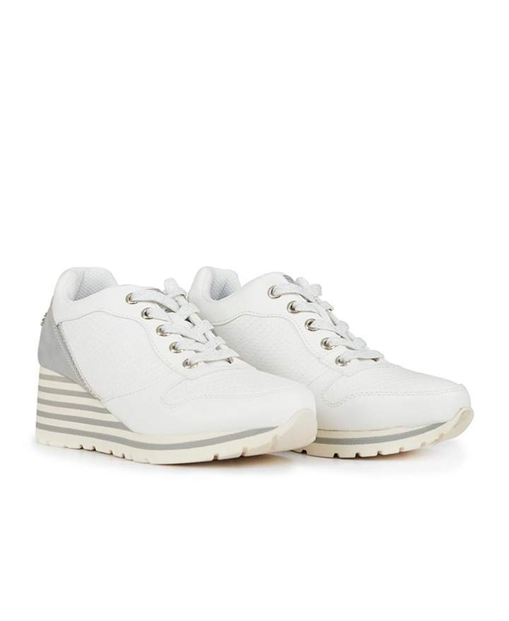 3ecc0c2da5f06 Lace Up Wedge Trainers Colour: WHITE, Size: UK 8