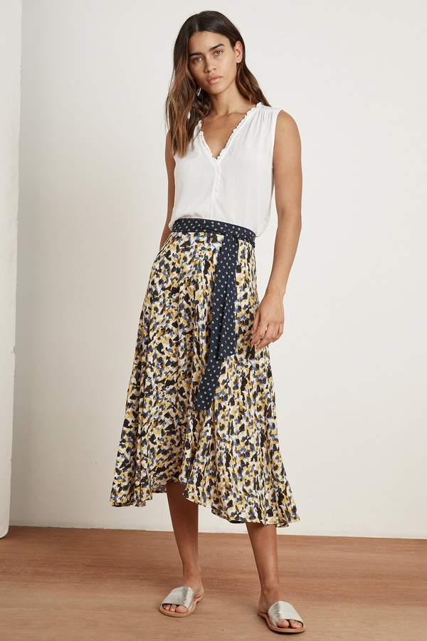 Velvet by Graham & Spencer SUSANNAH PRINTED CHALLIS MIDI SKIRT