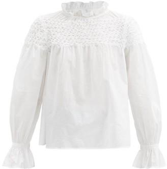 Merlette New York Majorelle Smocked-yoke Cotton-poplin Blouse - White