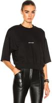 Saint Laurent Cropped Short Sleeve Logo Sweatshirt