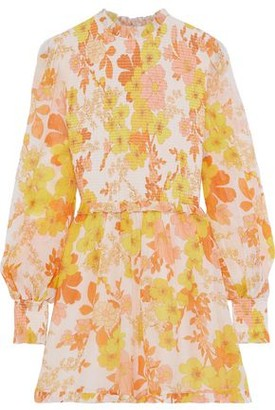 Zimmermann Primrose Floral-print Cotton And Silk-blend Georgette Playsuit