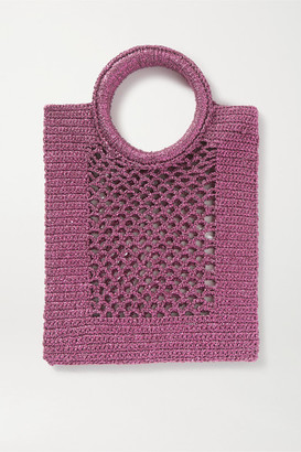 Mizele - Sunbath Mini Crochet-knit Lurex Tote - Burgundy