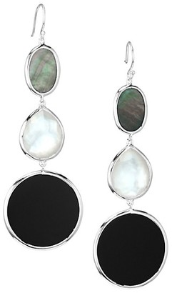Ippolita Ondine Sterling Silver, Black Shell, Onyx & Doublet Graduated Drop Earrings