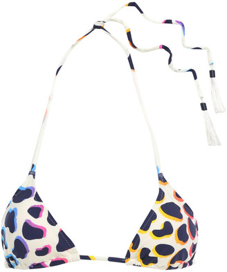 Emma Pake Tasseled Leopard-print Triangle Bikini Top