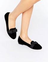 Asos MIRANDA Velvet Bow Loafers