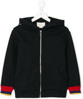 Gucci Kids tri-colour trim zipped hoodie