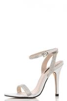Quiz Silver Diamante Barely There Sandals