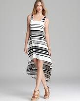 Aqua High Low Dress - Contrast Trim Stripe