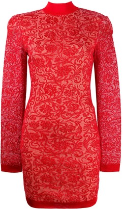 Balmain Brocade Long-Sleeve Dress
