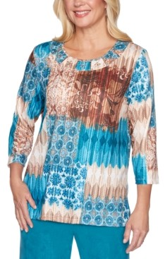 Alfred Dunner Walnut Grove Mixed-Print Top
