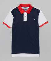 Micros Navy Color Block Coast Polo - Boys