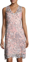T Tahari Elora Floral Crochet Dress, Peach