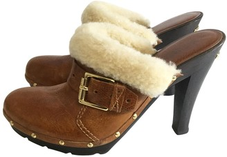 Michael Kors Brown Leather Mules & Clogs